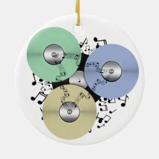Let the Music Flow (Reel to Reel & Vinyl Record) Round Ceramic Decoration