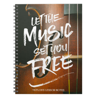 Let the Music Set You Free Musician Photo Template Spiral Notebook
