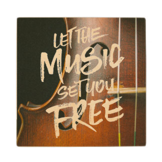 Let the Music Set You Free Musician Photo Template Wood Coaster