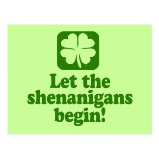 Let The Shenanigans Begin Postcard