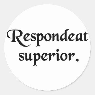 Let the superior answer. round sticker