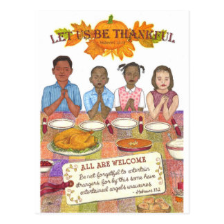 Let Us Be Thankful Inspirational Postcard