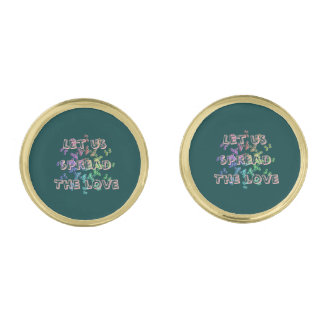 Let us spread the love gold finish cufflinks