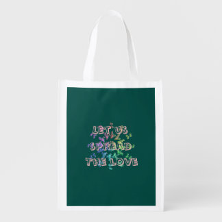 Let us spread the love reusable grocery bag