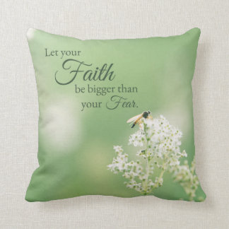 """""""Let your Faith…"""" Christian Quote Floral Flower Cushion"""