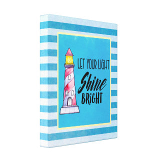 Let Your Light Shine Bright Lighthouse Typography Canvas Print