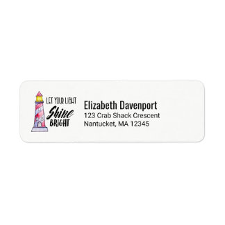 Let Your Light Shine Bright Lighthouse Typography Return Address Label