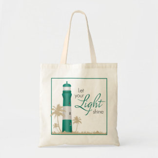 """""""Let your light shine!"""" Lighthouse Tote Green"""