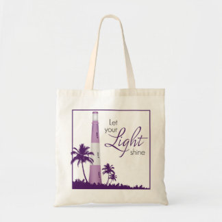 """""""Let your light shine!"""" Lighthouse Tote Purple"""