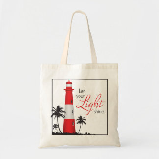 """""""Let your light shine!"""" Lighthouse Tote Red"""