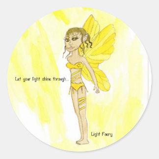 Let your light shine through...., Light Faery Classic Round Sticker