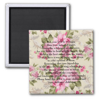 Let your love be stronger square magnet