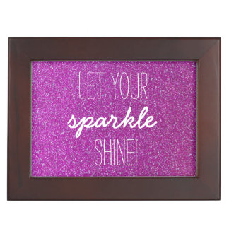 Let Your Sparkle shine Purple Glitter Keepsake Box