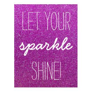 Let Your Sparkle Shine Purple Glitter Postcard