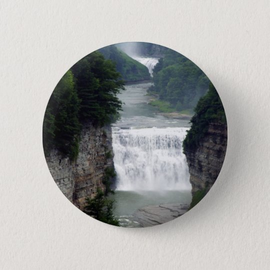 Letchworth State Park Upper and Middle Waterfalls 6 Cm Round Badge