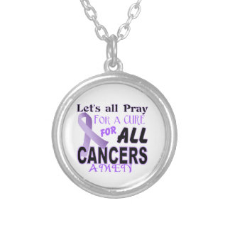 Let's All Pray For a Cure Cancer Awareness Apparel Silver Plated Necklace
