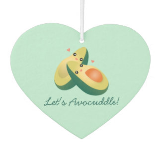 Let's Avocuddle Funny Cute Avocados Pun Humour Car Air Freshener
