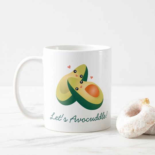 Let's Avocuddle Funny Cute Avocados Pun Humour Coffee