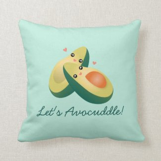Let's Avocuddle Funny Cute Avocados Pun Humour Cushion