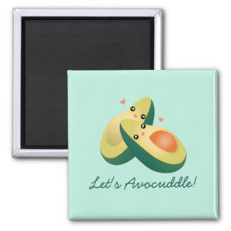 Let's Avocuddle Funny Cute Avocados Pun Humour Square Magnet