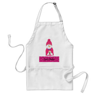 Let's Bake Girl Snowman in Pink Standard Apron