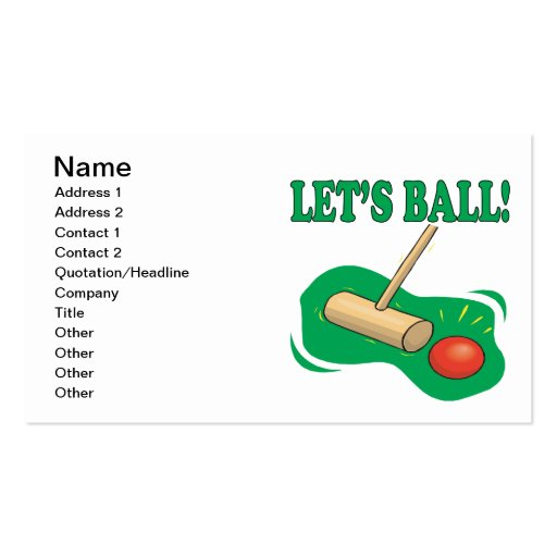 Lets Ball Business Card Templates