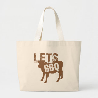 Let's BBQ! with cute little cow Jumbo Tote Bag