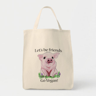 Lets be friends Go vegan grocery tote