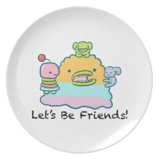 Let's Be Friends Melamine Plate
