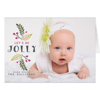 Let's Be Jolly Poppies Christmas Photo Folded Card