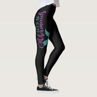 Let's be mermaids Purple Teal Glitter Texture Leggings