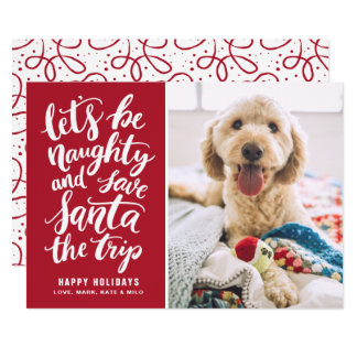 Let's be Naughty Hand Lettered Funny Holiday Card