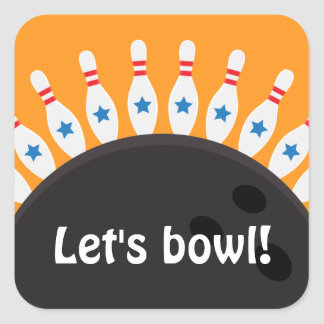 Lets bowl Bowling party seal stickers
