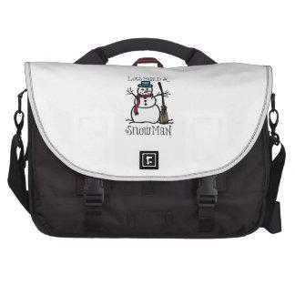 Lets Build A Snow Man Laptop Messenger Bag