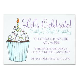 Let's Celebrate Birthday Cupcake Cake Invitations
