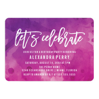 Let's Celebrate Birthday Party | Purple Watercolor Card
