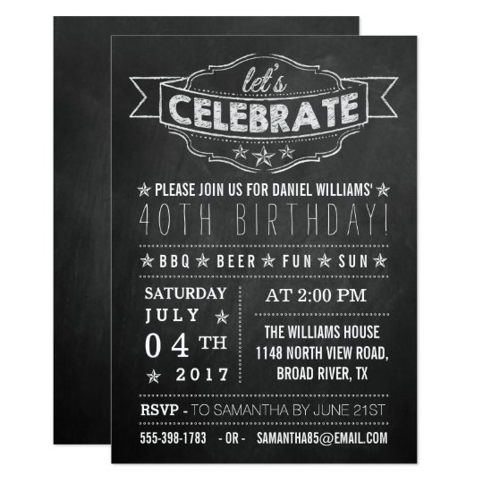Let's Celebrate! Chalkboard Typography Birthday Card