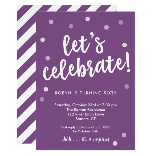 Let's Celebrate Confetti, Purple Party Invitation