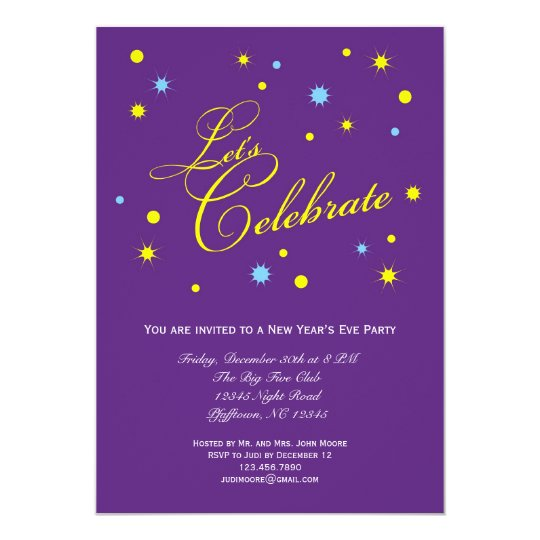 Let's Celebrate New Year's Eve Party Invitation