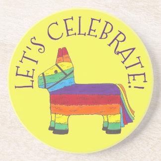 Let's Celebrate Rainbow Fiesta Donkey Pinata Party Coaster