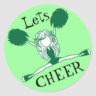 Lets Cheer Green Cheerleader Round Sticker