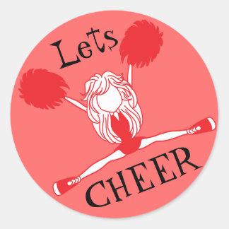 Lets Cheer Red Cheerleader Round Sticker