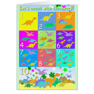 Let's Count With Dinosaurs Numbers 1 - 10 Counting Greeting Card