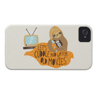 """""""Let's Cuddle and Watch Old Movies"""" Sloth iPhone 4 Covers"""