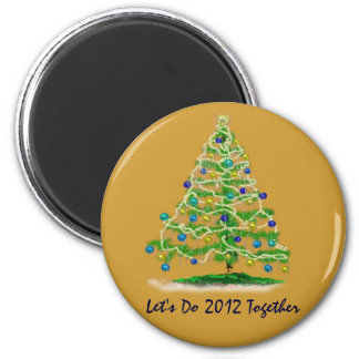 Let's Do 2012 Together Christmas Tree 6 Cm Round Magnet