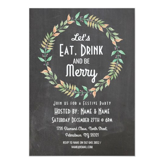 Let's Eat Drink & Be Merry Christmas Invitation