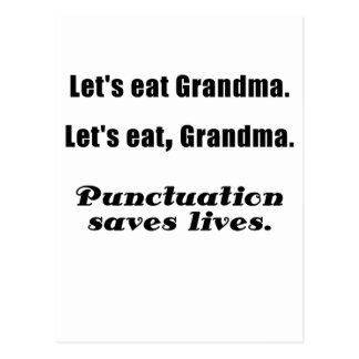 Let's Eat Grandma Punctuation Saves Lives Postcard