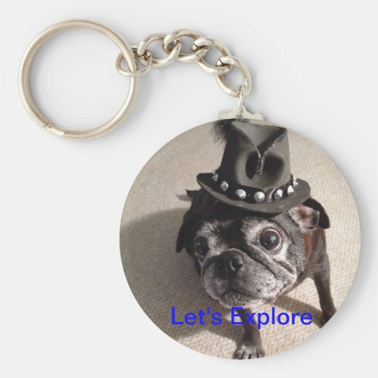Let's Explore Basic Round Button Key Ring