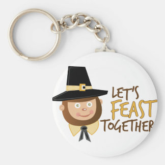 Let's Feast Together Basic Round Button Key Ring