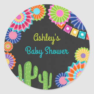 Let's fiesta favor tag Sticker Mexican Baby Shower